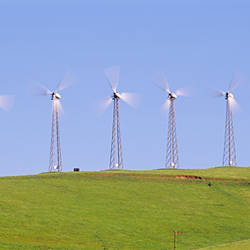 Wind turbines on a hill, Altamont Pass, Livermore, California, USA