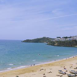 High angle view of the beach, Albufeira, Faro, Algarve, Portugal