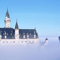 Castle covered with fog, Neuschwanstein Castle, Bavaria, Germany