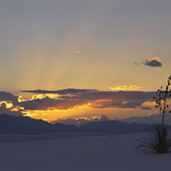 Clouds over a desert at sunset, White Sands National Monument, New Mexico, USA