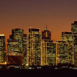 Skyscrapers lit up at night, San Francisco, California, USA