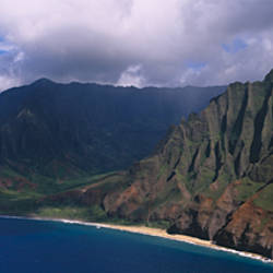 Aerial view of the coast, Na Pali Coast, Kauai, Hawaii, USA