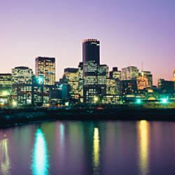 Buildings lit up at dusk, Boston, Suffolk County, Massachusetts, USA