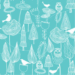 Birds and Trees, Cyan - Jessica Swift