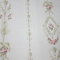 Floral Stripe  White, Cream