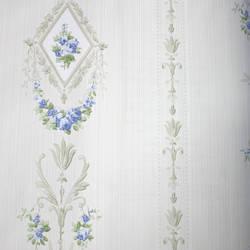 Floral Stripe  White, Blue