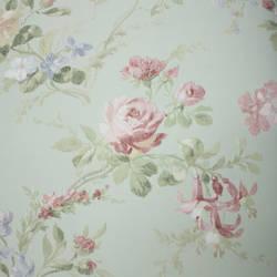 Linen Floral  Light Green, Pink
