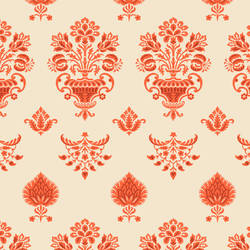 Damask, Red and Cream Floral