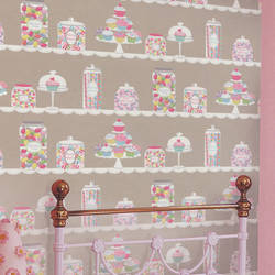 Sweet Tooth Taupe Kids Wallpaper