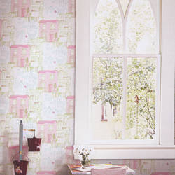 De Bon Voisinage Pink Green Kids Wallpaper