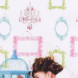 Picture This Pink Teal Kids Wallpaper