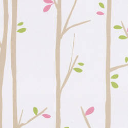 Twiggy Taupe Pink and Green Kids Wallpaper