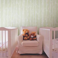 Twiggy White on Mint Green Kids Wallpaper