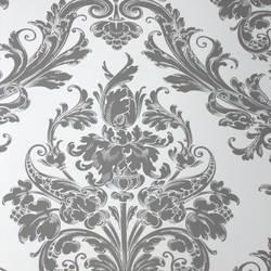 Damask Princess Ash Grey on White Kids Wallpaper