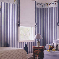 Denim Stripe Dark and Light  Blue Kids Wallpaper