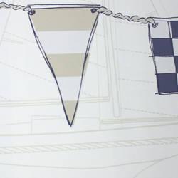 Nautical Flag Border Taupe Blue Kids Wallpaper Borders