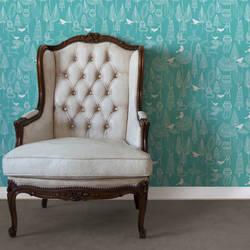 Birds and Trees, Cyan - Jessica Swift Wallpaper Tiles