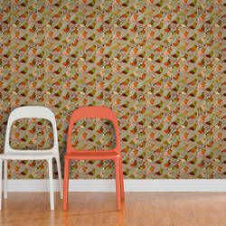 Red Riding Bird, Crimson - Jessica Swift Wallpaper Tiles