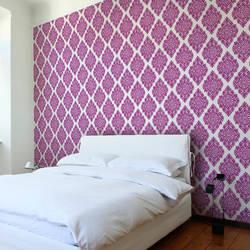 French Garden Damask, Plum - Wallpaper Tiles