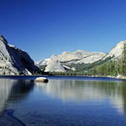 Reflection of a rock in water, Half Dome, Yosemite National Park, Mariposa County, California, USA