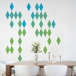 Harlequin Diamond, Blue and Green - Wall Decal