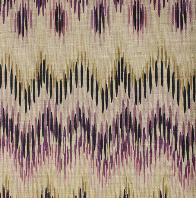 Printed Grasscloth Wallpaper: Miami Ikat On Woven Grasscloth