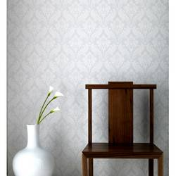 Vintage Flock: Pure White Wallpaper