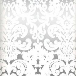 White & Silver Mylar Leafy Damask