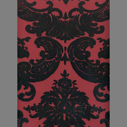 Black Velvet Madison Damask on Peanut Red