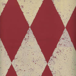Cream Velvet Harlequin on Peanut Red