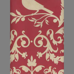 Cream Velvet Deer & Birds on Peanut Red