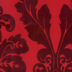 Burgundy Velvet Leaf Damask on Red