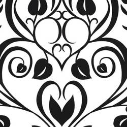 Black Velvet Heart Leaf Damask on White