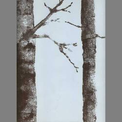 Brown Velvet Trees on Light Blue