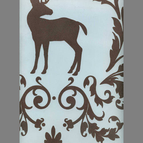 Brown Velvet Deer & Birds on Light Blue