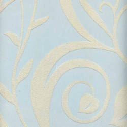 Beige Velvet Heart Leaf Damask on Light Blue