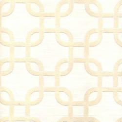 White Velvet Geometric Squares on Cream