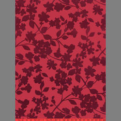 Burgundy Ivy velvet flock wallpaper: VCC0623