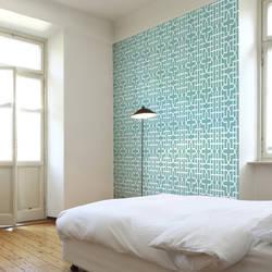 Urban Geometric custom digital wallpaper: Aqua