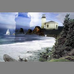 Lighthouse seascape custom mural wallpaper