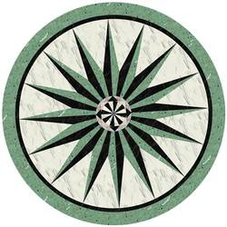 Green Stone Medallion vinyl applique floor covering
