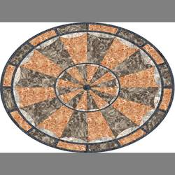 Orange Oval Medallion vinyl applique floor covering