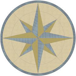 Terrazzo medallion vinyl applique floor covering