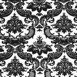 Black Damask screen printed modern vintage wallpaper: RVv10