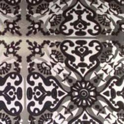 Black, Silver Matte & Silver Mylar Helena velvet flock wallpaper: VCC0616