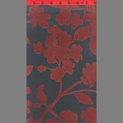 Burgundy Ivy velvet flock wallpaper: VCC0613