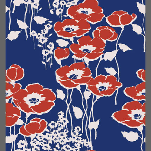 red poppy flower custom vintage floral wallpaper