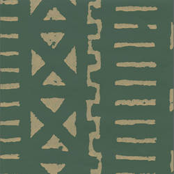 Green and Off-White - African Geometric Pattern
