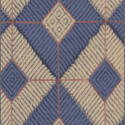 Blue and Off-White Diamonds - African Geometric Pattern