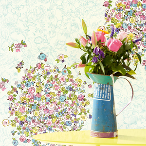 Bouquets Sky Floral Polka Dot 341586